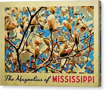 Mississippi Magnolias Canvas Print by Flo Karp