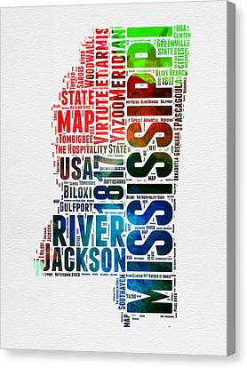 Mississippi Watercolor Word Cloud  Canvas Print by Naxart Studio