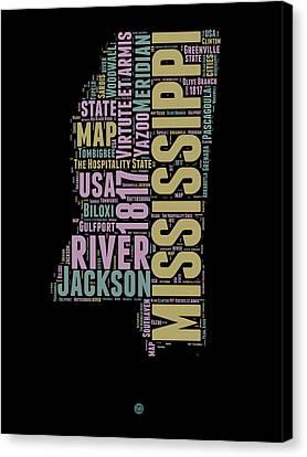 Mississippi Word Cloud 1 Canvas Print by Naxart Studio
