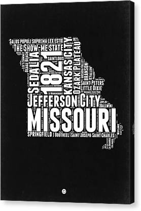 Missouri Black And White Word Cloud Map Canvas Print by Naxart Studio