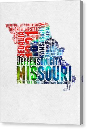Missouri Watercolor Word Cloud Map  Canvas Print by Naxart Studio