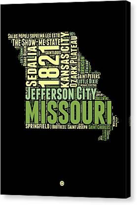 Missouri Word Cloud Map 1 Canvas Print by Naxart Studio