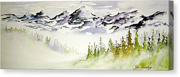 Mist In The Mountains Canvas Print by Joanne Smoley