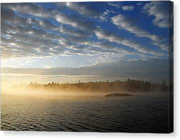 Mist On Boot Lake Canvas Print by Larry Ricker