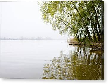 Misty Morning By The Lake Canvas Print by Marco Oliveira