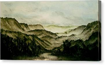 Misty Morning In Pa Canvas Print by Karen Cortese