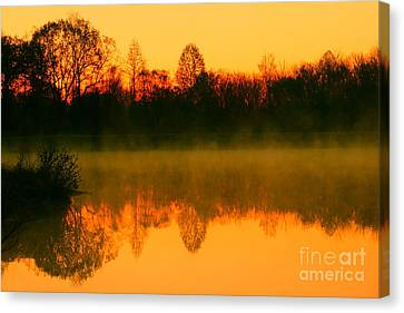 Misty Sunrise Canvas Print by Morgan Hill