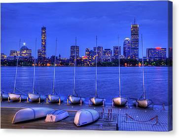 Mit Sailing Pavilion And The Boston Skyline At Night Canvas Print by Joann Vitali
