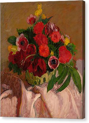 Mixed Flowers On Pink Cloth Canvas Print by Roderic O'Conor