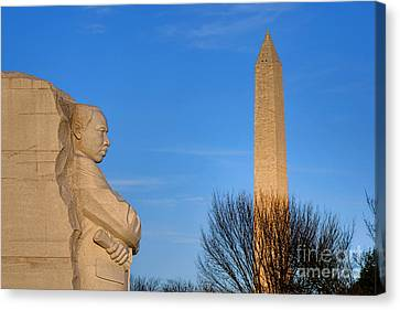 Mlk And Washington Monuments Canvas Print by Olivier Le Queinec