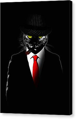 Mobster Cat Canvas Print by Nicklas Gustafsson