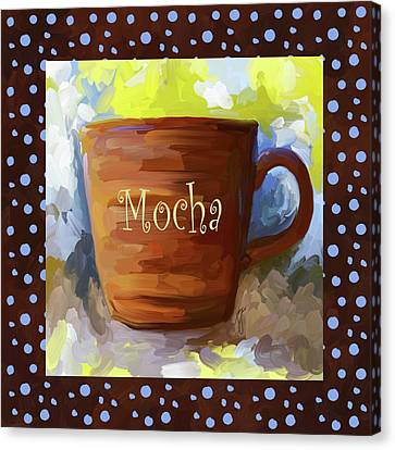 Mocha Coffee Cup With Blue Dots Canvas Print by Jai Johnson