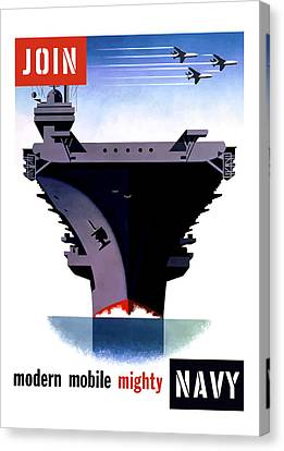 Modern Mobile Mighty Navy Canvas Print by War Is Hell Store