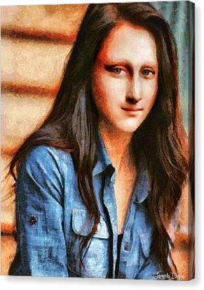Modern Mona Lisa  - Camille Style -  - Da Canvas Print by Leonardo Digenio