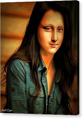 Modern Mona Lisa - Rembrandt Style Canvas Print by Leonardo Digenio