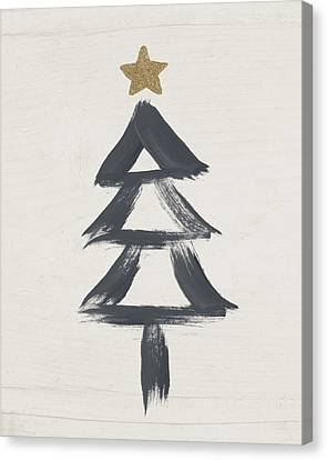 Modern Primitive Black And Gold Tree 2- Art By Linda Woods Canvas Print by Linda Woods