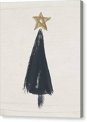 Modern Primitive Black And Gold Tree 3- Art By Linda Woods Canvas Print by Linda Woods