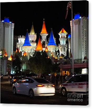 Modern Tale From Las Vegas, Excalibur Canvas Print by Timea Mazug