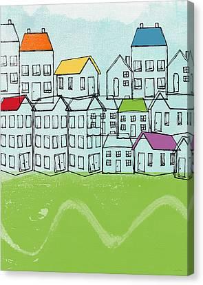 Modern Village Canvas Print by Linda Woods