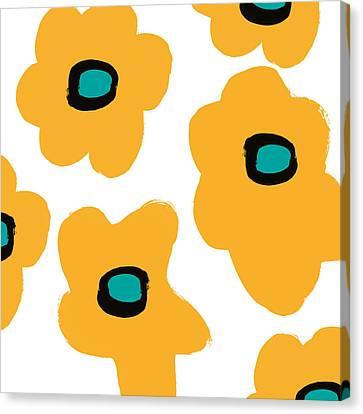 Modern Yellow Flowers- Art By Linda Woods Canvas Print by Linda Woods
