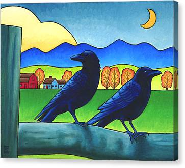 Moe And Joe Crow Canvas Print by Stacey Neumiller