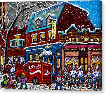Moishe's On The Main Montreal Memories Street Hockey Art Snowy Canadian Winter Painting C Spandau Canvas Print by Carole Spandau