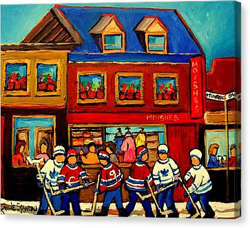 Moishes Steakhouse Hockey Practice Canvas Print by Carole Spandau