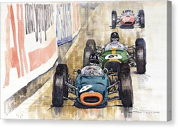 Monaco Gp 1964 Brm Brabham Ferrari Canvas Print by Yuriy  Shevchuk