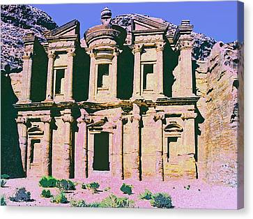 Monastery At Petra Canvas Print by Dominic Piperata