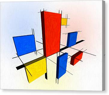 Mondrian 3d Canvas Print by Michael Tompsett