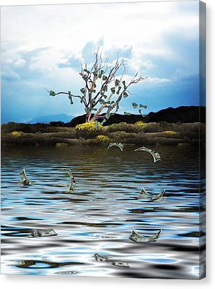 Money Tree On A Windy Day Canvas Print by Gravityx9   Designs