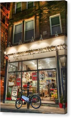 Monica's Mercato - Boston North End Store Front Canvas Print by Joann Vitali