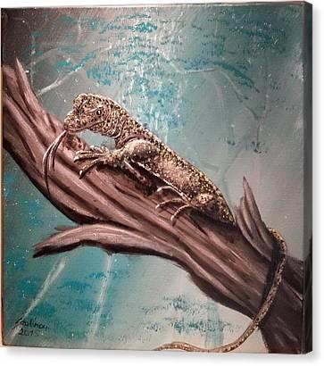 Monitor Lizard On The Branch Canvas Print by Judit Szalanczi