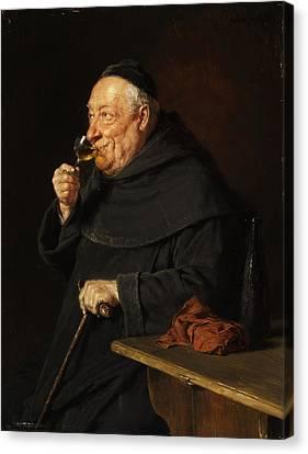 Monk With A Wine Canvas Print by Eduard von Grutzner