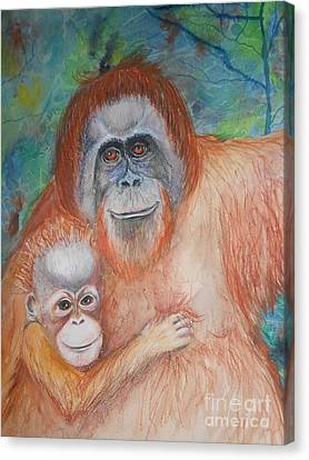 Monkey Mum And Baby Canvas Print by Brenda Jenkins