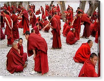Monks Debating Canvas Print by Yvette Depaepe