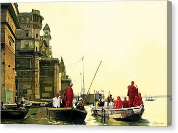 Monks In Varanasi Canvas Print by Dominique Amendola