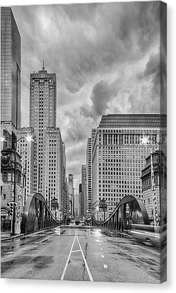 Monochrome Image Of The Marshall Suloway And Lasalle Street Canyon Over Chicago River - Illinois Canvas Print by Silvio Ligutti