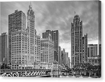 Monochrome Wrigley And Chicago Tribune Buildings - Michigan Avenue Dusable Bridge Chicago Illinois Canvas Print by Silvio Ligutti
