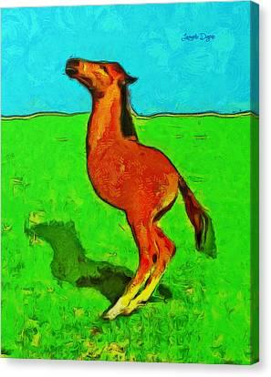 Monohorse Baby Over Grass - Da Canvas Print by Leonardo Digenio