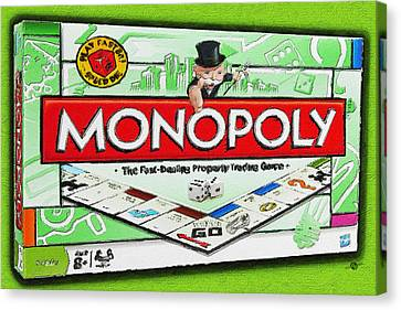 Monopoly Board Game Painting Canvas Print by Tony Rubino