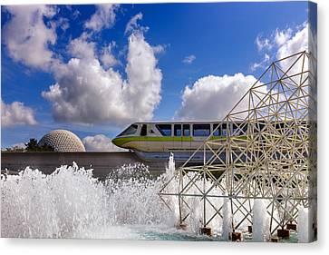 Monorail And Spaceship Earth Canvas Print by Chris Bordeleau