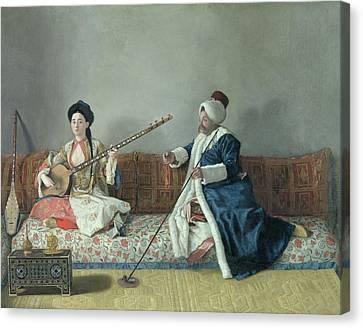 Monsieur Levett And Mademoiselle Helene Glavany In Turkish Costumes Canvas Print by Jean Etienne Liotard
