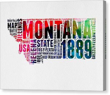 Montana Watercolor Word Cloud  Canvas Print by Naxart Studio