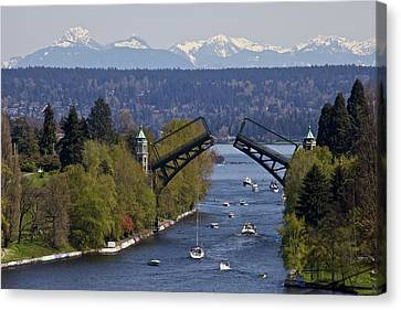 Montlake Bridge And Cascade Mountains Canvas Print by C. Chase Taylor