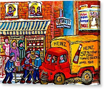 Montreal Gattuso Grocer Rue Fairmount Street Hockey Game Heinz Ketchup Delivery Truck Carole Spandau Canvas Print by Carole Spandau