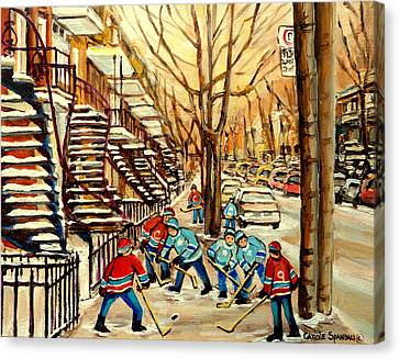 Montreal Street Hockey Paintings Canvas Print by Carole Spandau