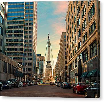Monument Circle - Indianapolis Canvas Print by Mark Orr