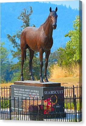 Monument To Seabiscuit Canvas Print by Josephine Buschman