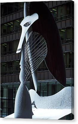 Monumental Sculpture In Front Canvas Print by Panoramic Images